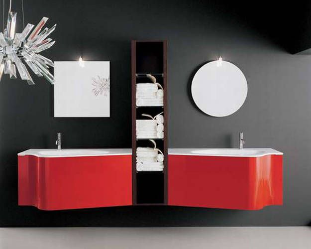 Fresh Black and Red Bathroom