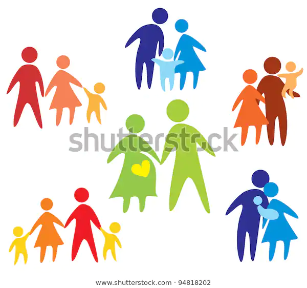 Happy Family Icons Collection Multicolored Simple Stock Vector Royalty Free 94818202 Icon Collection Family Symbol Family Illustration