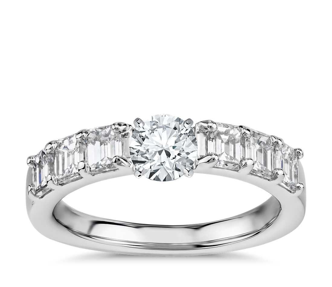 Emerald cut diamond engagement ring platinum ct tw