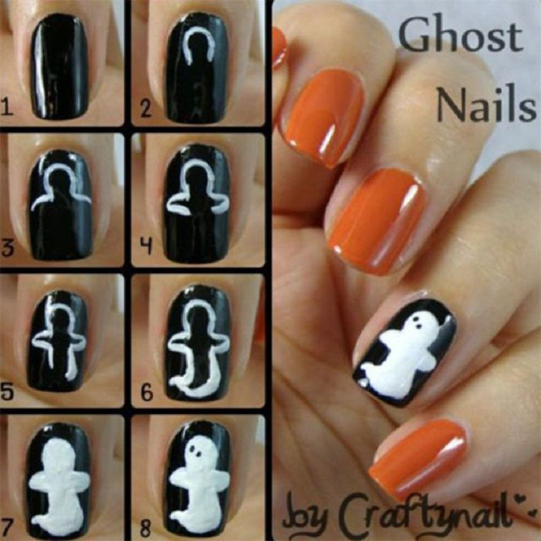 ghost nail art tutorial 10 spooky and cute halloween nail art tutorials gleamitup - Easy Cute Halloween Nail Designs