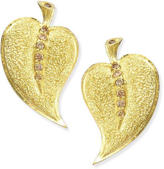 Alex Soldier 18k Champagne Diamond Leaf Stud Earrings on shopstyle.com