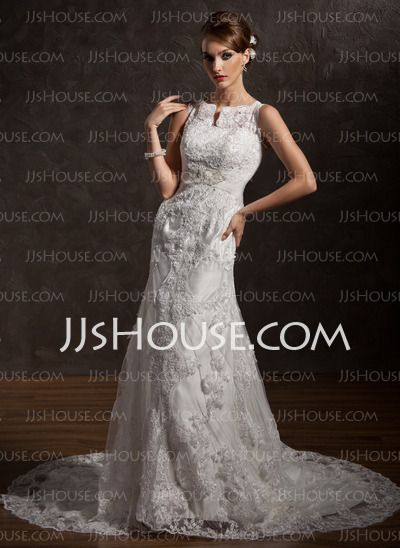 Vestidos de noiva - $234.99 - Sereia Decote redondo Cauda capela cetim laço Vestido de noiva com laço Bordado (002004770) http://jjshouse.com/pt/Sereia-Decote-Redondo-Cauda-Capela-Cetim-Laco-Vestido-De-Noiva-Com-Laco-Bordado-002004770-g4770