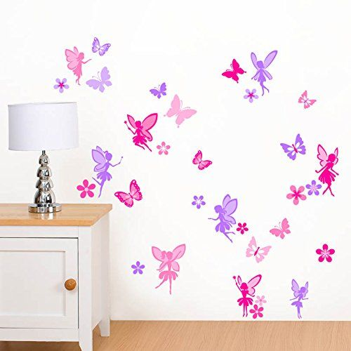 Purple & Pink Fairies, Flowers & Butterflies Girls Printed