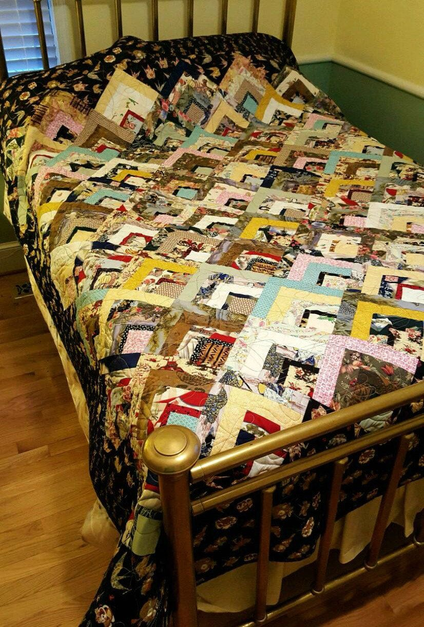 Queen Bed Quilt, Oriental Fabric Quilt in Log Cabin pattern ... : oriental fabrics for quilting - Adamdwight.com