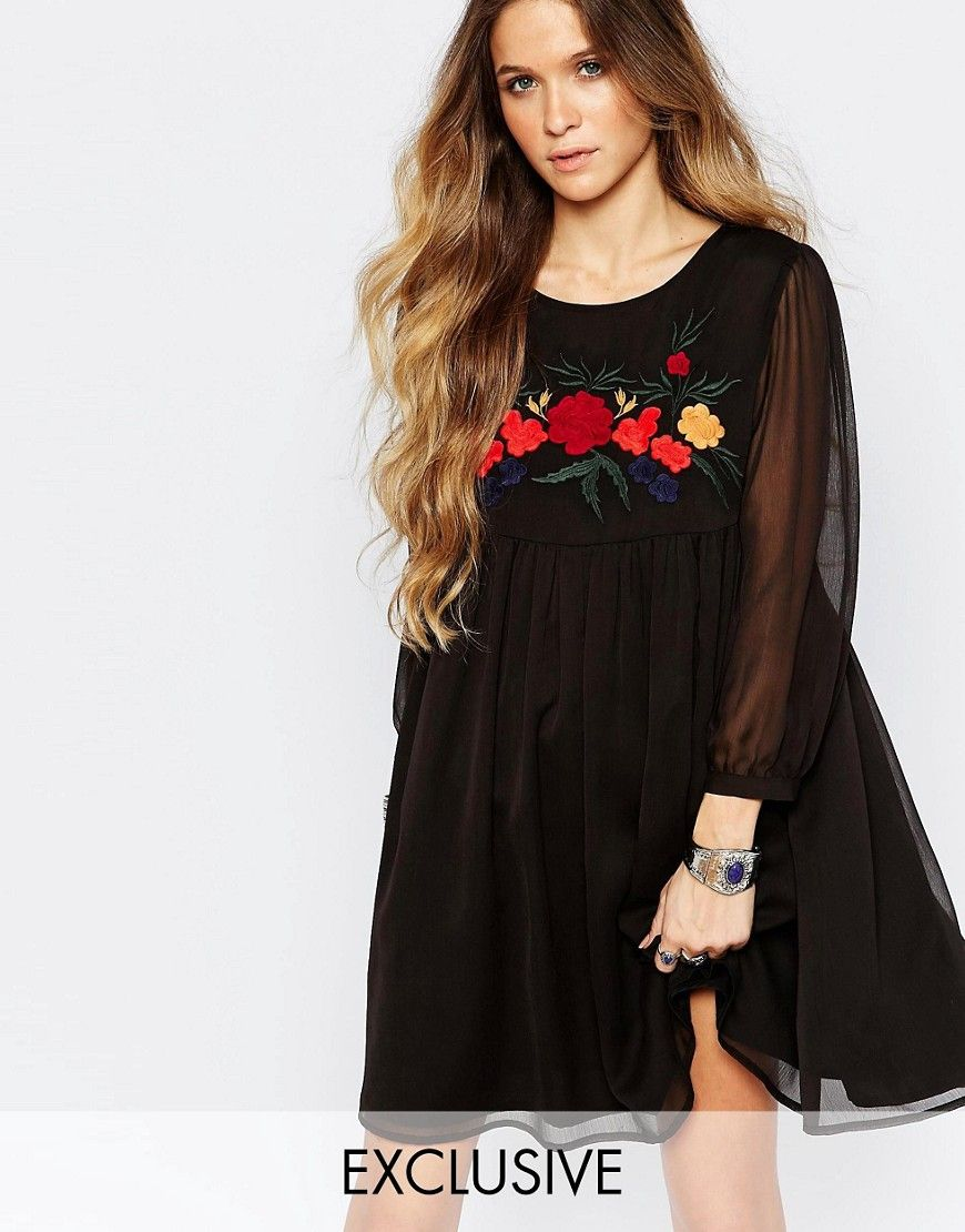 Glamorous Smock Dress With Embroidery At Asos Com Dresses Smock Dress Casual Dresses [ 1110 x 870 Pixel ]