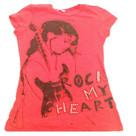 Rock shirt Red...fits small. Teen size but stretchy.💄💄 Tops