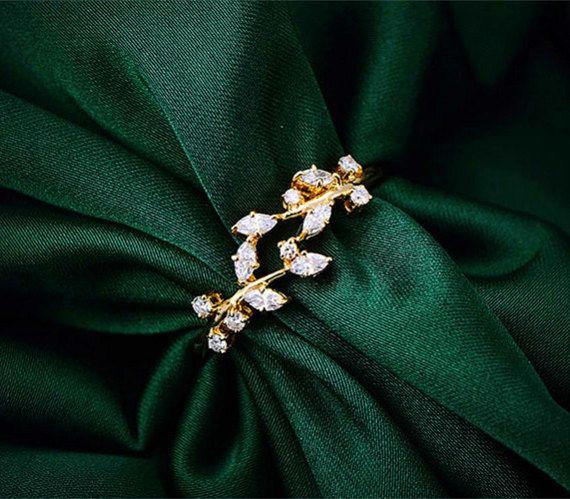 Real Greek Weddings: Solid 18k Gold Olive Branch Diamond Ring, Wrap Diamond