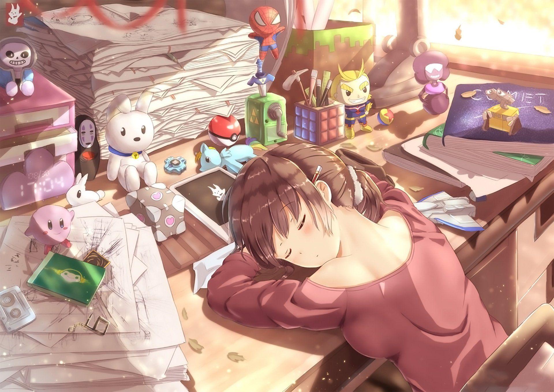 Anime Original Girl Desk Sleeping Wallpaper Relaxing Music Sleep Anime Relaxing Music