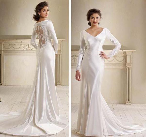 Long Sleeves Wedding Dresses Fallen Skirt The Sense Of Vintage On