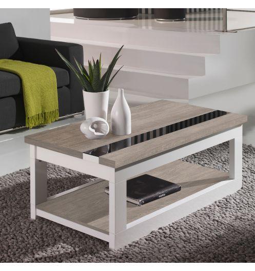 Table Basse Relevable Plateau Chene Blanchi Et Pied Blanc Mobilier Table Basse Relevable Table Basse Table Basse Bois Blanc