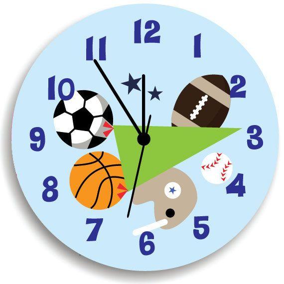 Kids Wall Clock, Children Room Decor All-Star Sport Wooden WALL ...