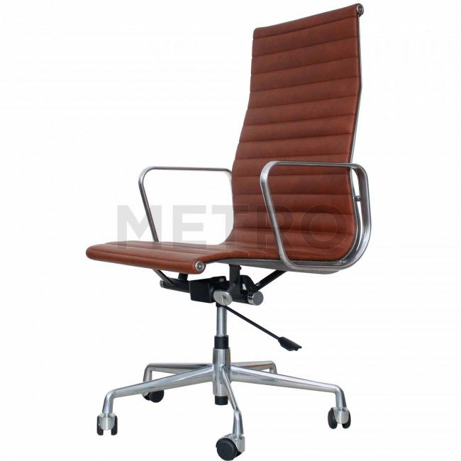 Eames Ea119 Office Chair Brown Leather From 45 Degrees