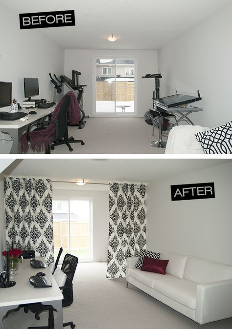 Divide a room and hide exercise equipment with a curtain ...