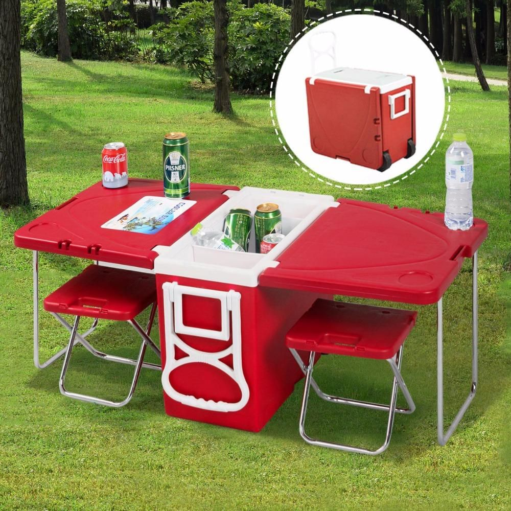 Ultimate Folding Cooler Camping Set Cooler Table Chairs Juliasstyles Camping Table Outdoor Furniture Sets Picnic Cooler