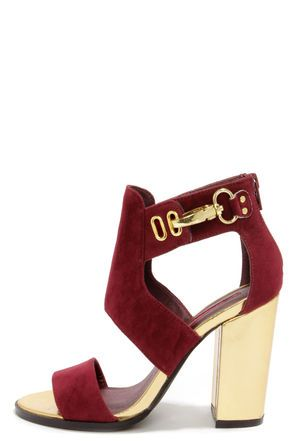 Burgundy and Gold Cutout Booties