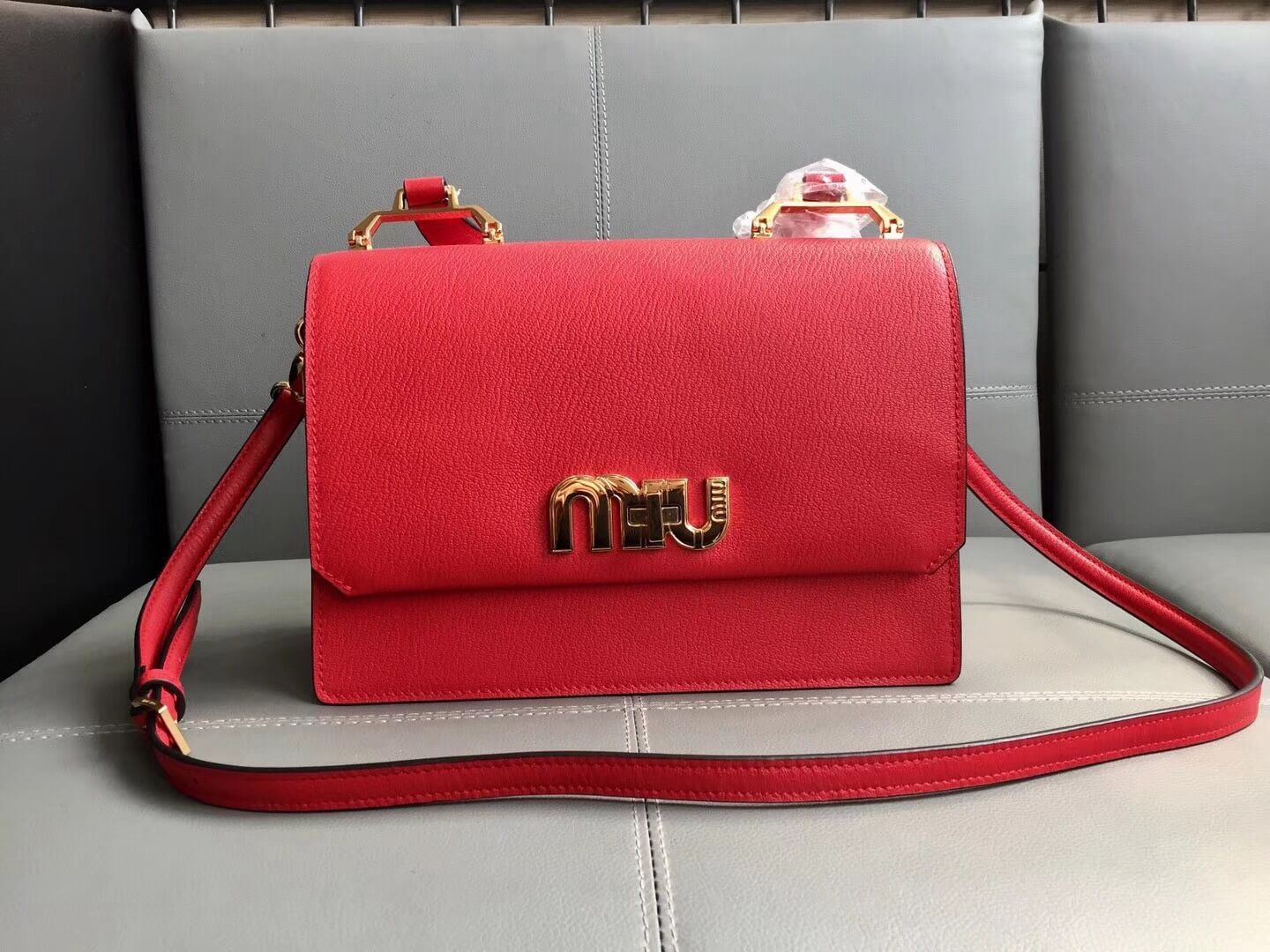 3120f0832228 Miu Miu Madras Goat Leather Miu Logo Top Handle Bag 5BA062 Red