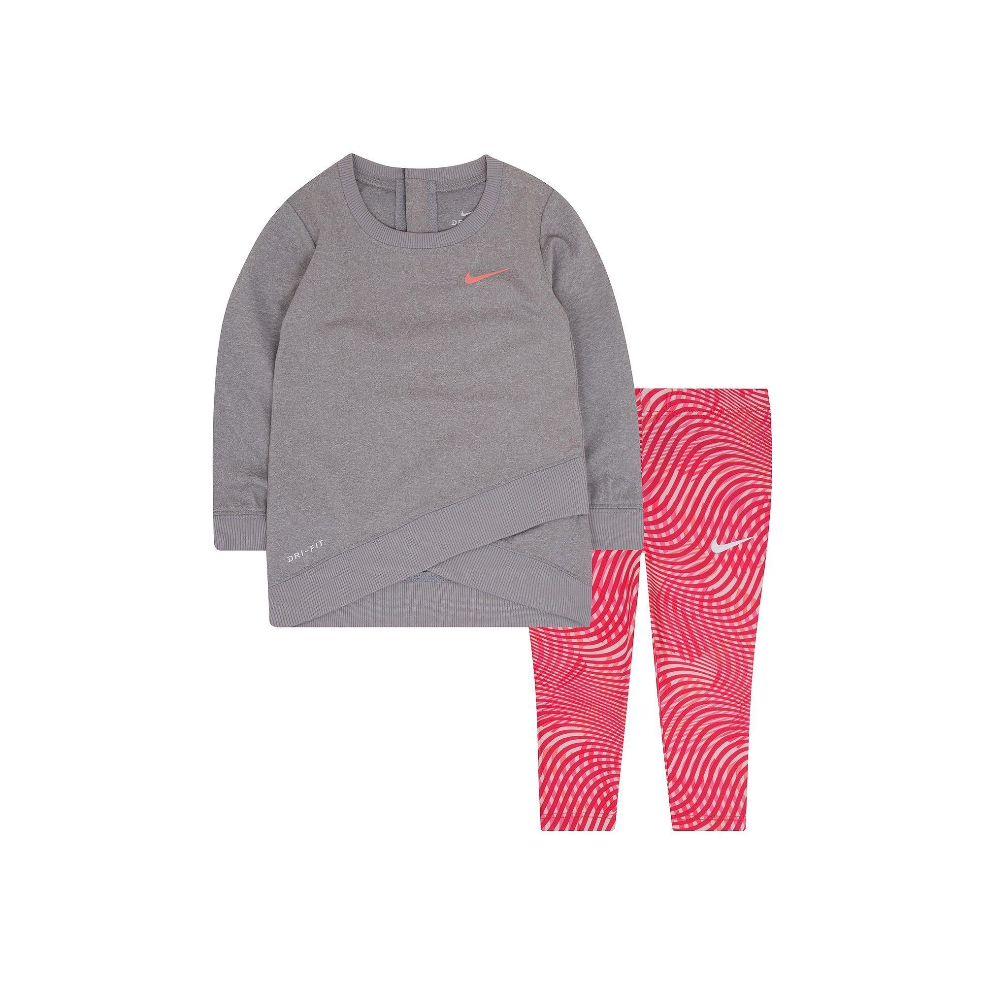8ae3d1e472e4 Nike Baby Girl Dri-FIT Graphic Sweatshirt   Print Leggings Set ...