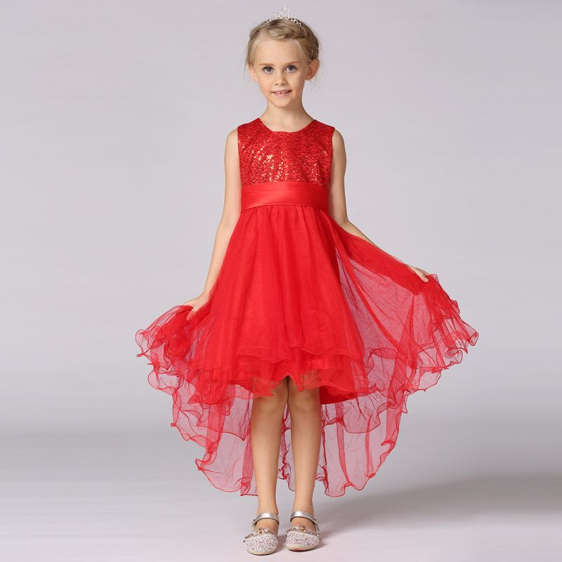 New arrive kid girl dress trailing dress for Child solid Sequined ...