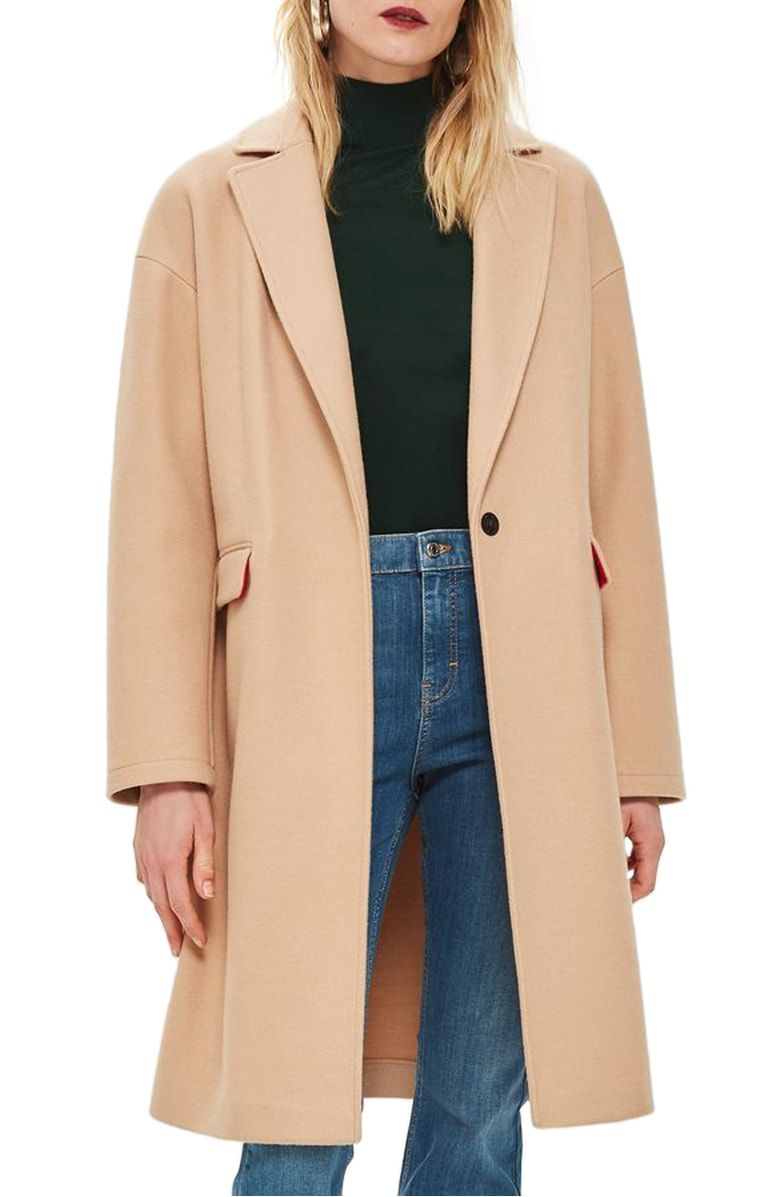 c84d3682c9078 Free shipping and returns on Topshop Lily Knit Back Midi Coat at  Nordstrom.com. Kissed with wool