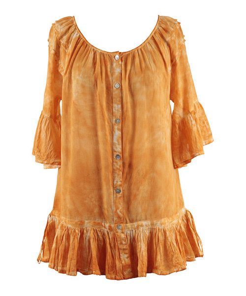 Look at this Peppermint Bay Tangerine Ruffle Button-Up Tunic - Women on #zulily today!