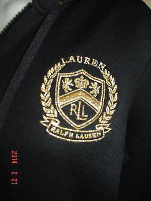 Polo Athletic Womens Black Ralph Hoodie Nwot Lauren Gold Top Zip rdCoWxBQe