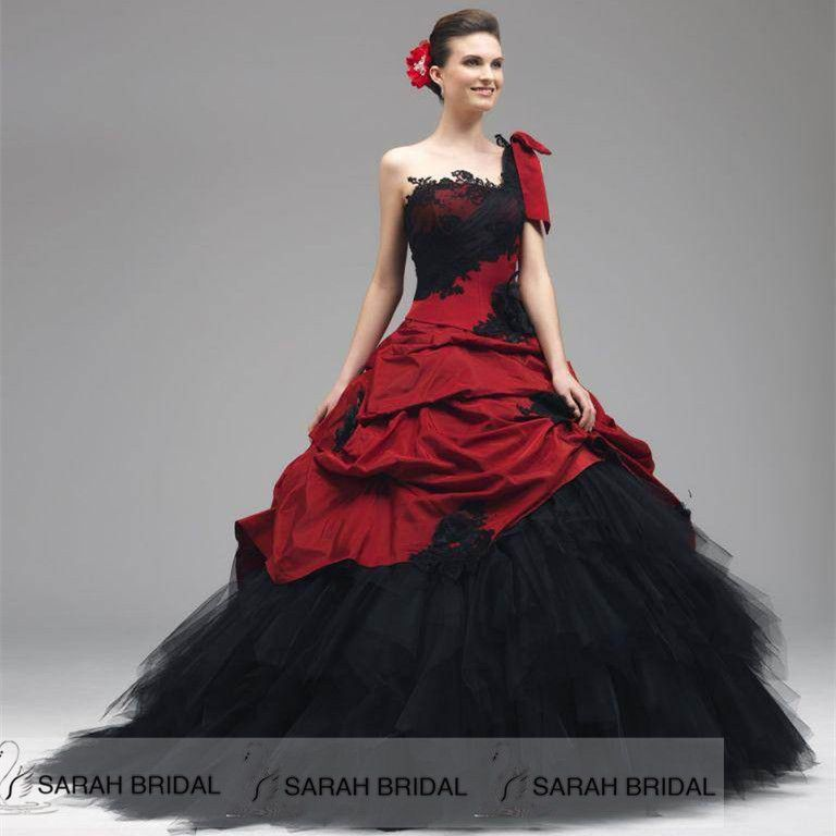 Custom Gothic Red/Black Wedding Dresses Plus size One Shoulder ...