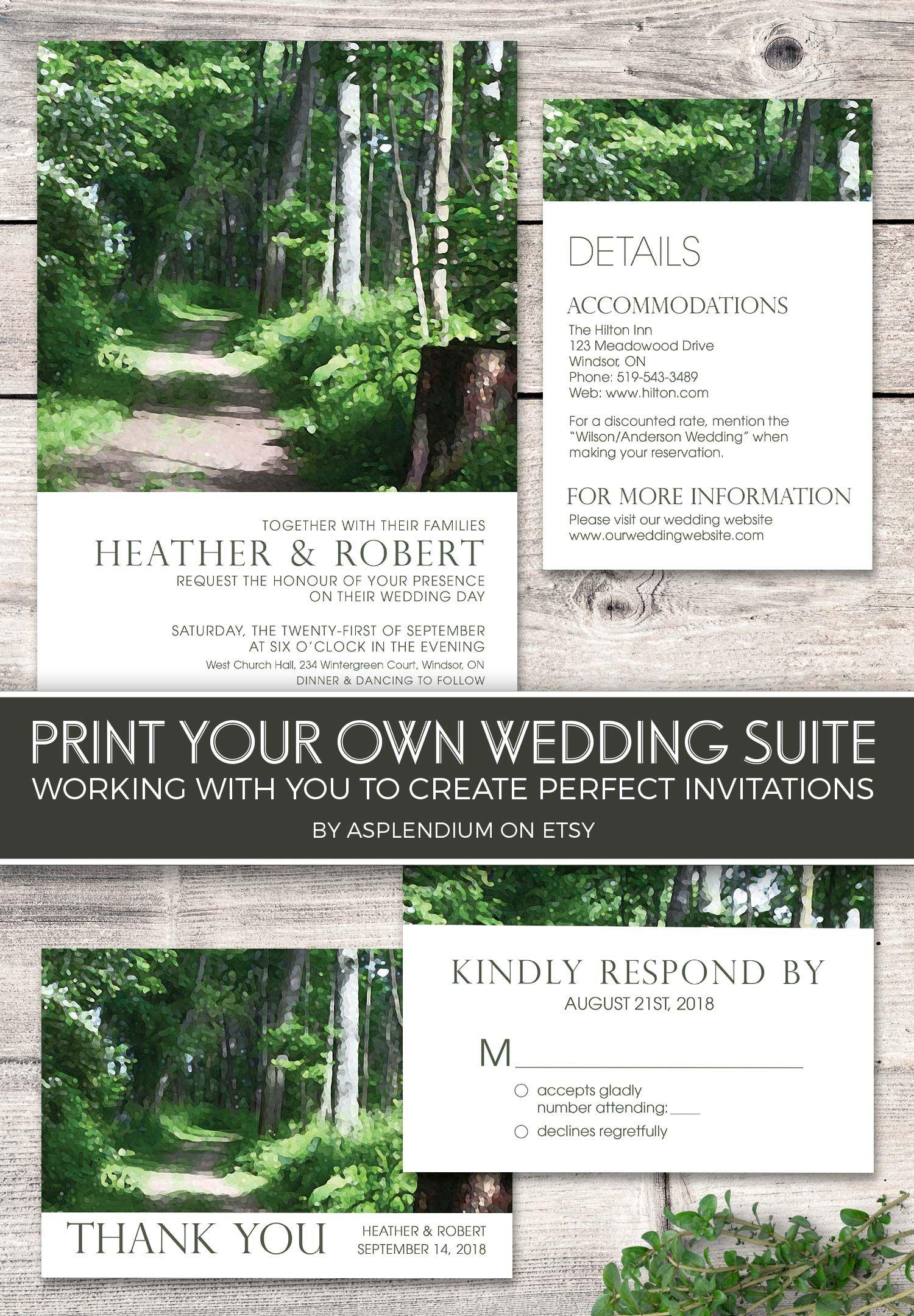 Forest Wedding Invitation Printable, Woodsy Wedding Invites, Outdoor ...