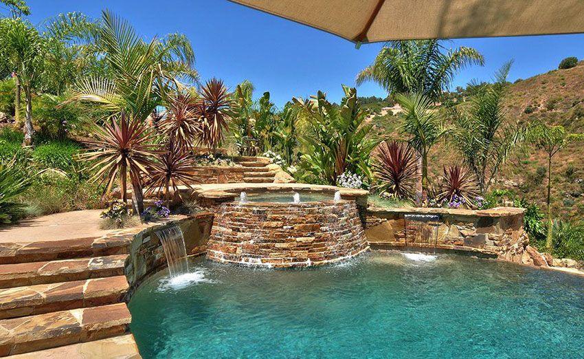 Swimming Pool Waterfalls Design Ideas Pool Waterfall Backyard