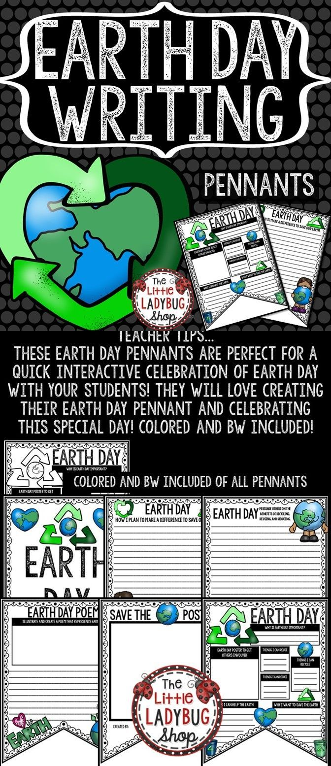 Earth Day Writing Poster Pennants  Earth Day Activity  Earth day