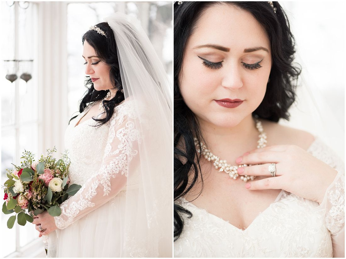 Bride with cluster pearl necklace and head band with veil dress has