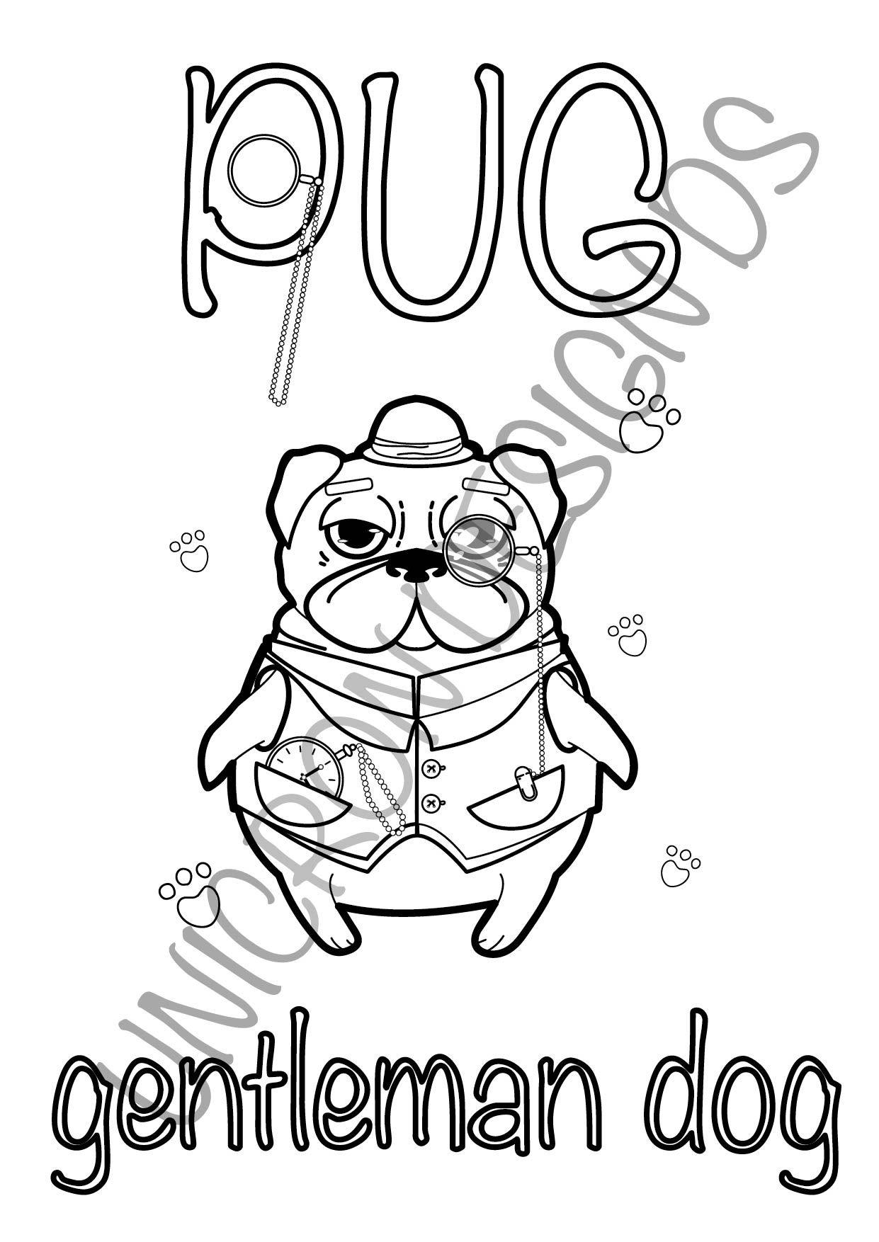 Printable Cute Pug Dog Animals Illustration Coloring Pages For Etsy Coloring Pages Coloring Pages For Kids Animal Illustration