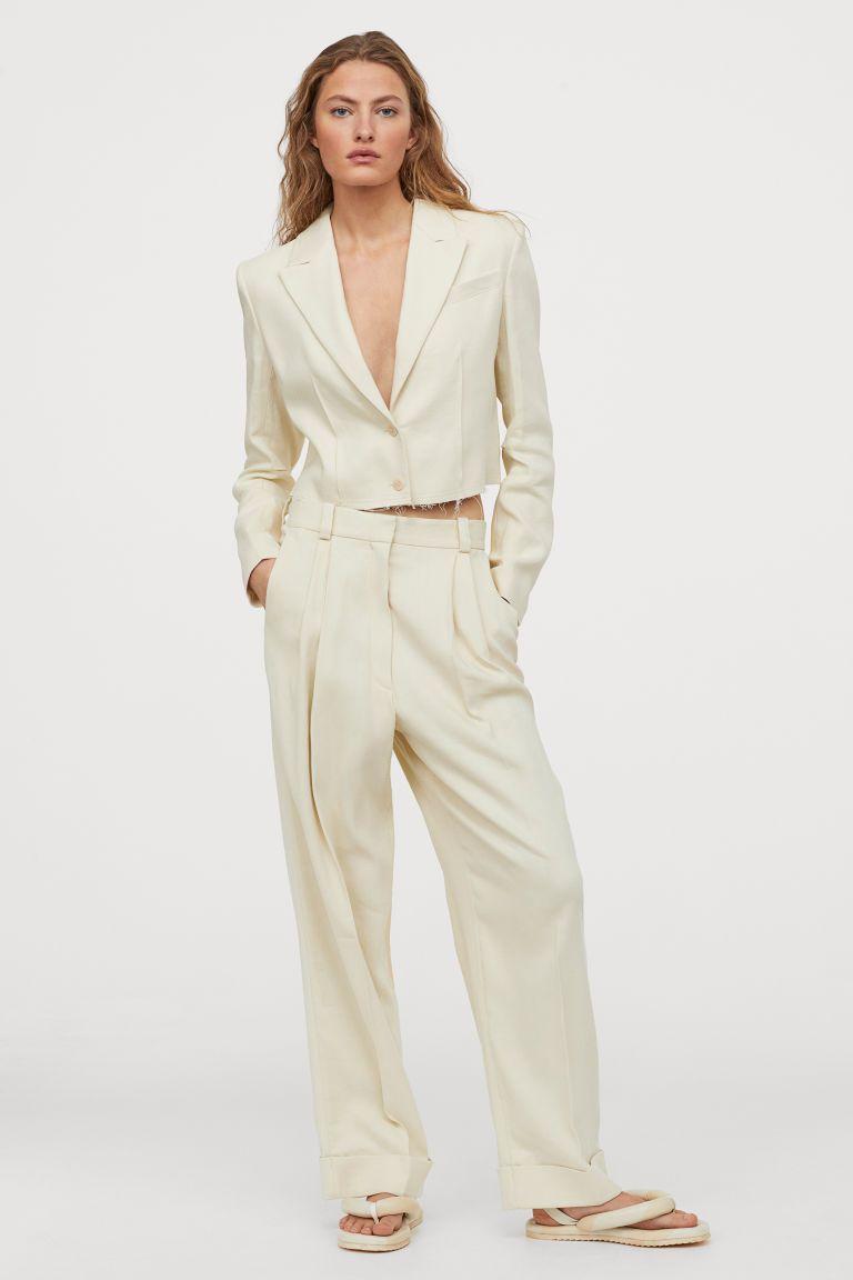 Wide Leg Twill Pants Light Beige Ladies H M Us In 2020 Twill Pants Fashion Tuxedo Dress