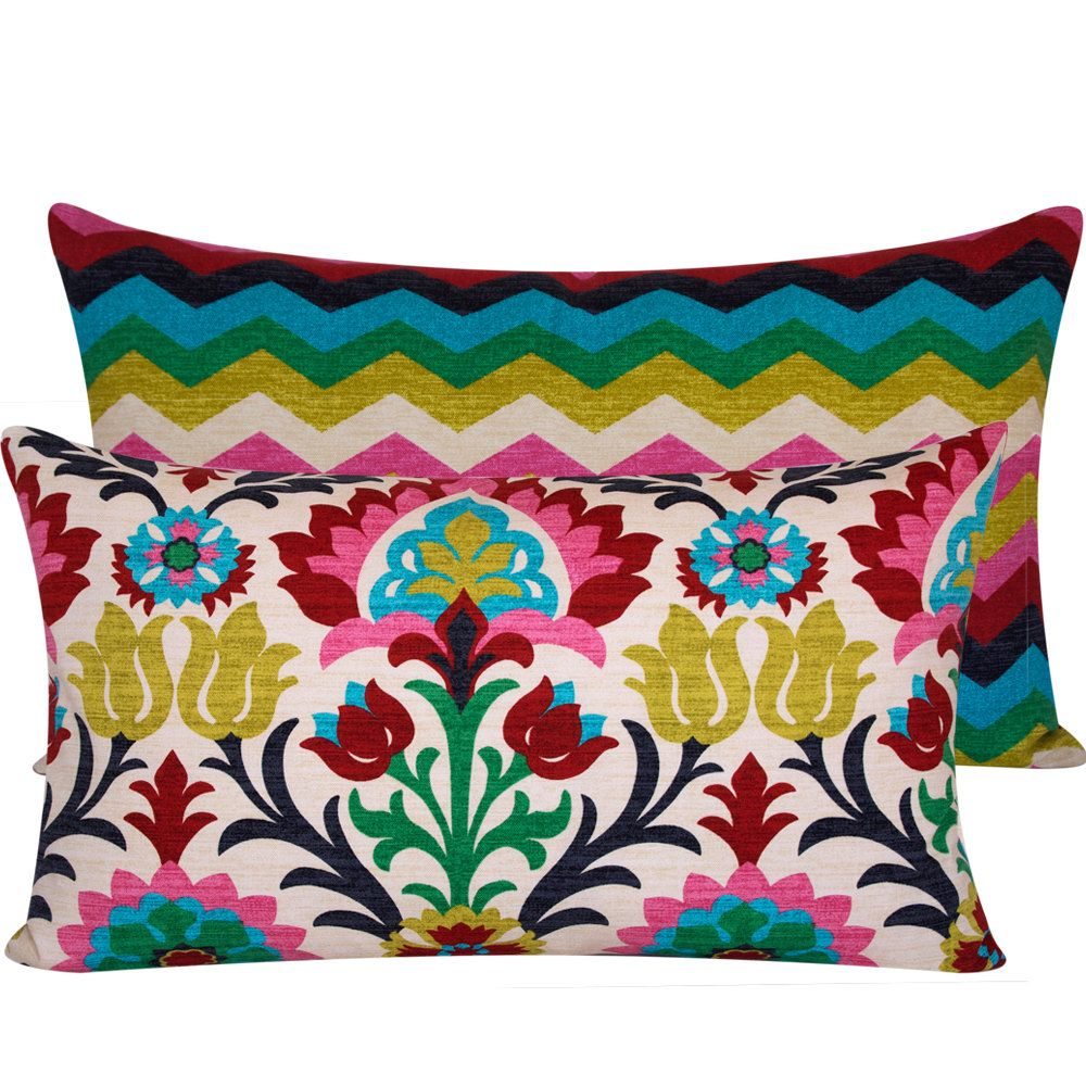 Bright ZigZag Floral Pillow Cover 16x26 Body Pillow in Yellow Blue Green Red, Cinco de Mayo Collection. $50,50, via Etsy.