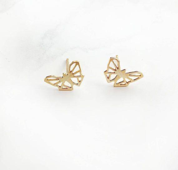 Photo of Butterfly earrings, Butterfly stud, geometric Butterfly post, origami Butterfly earrings, gold Butte