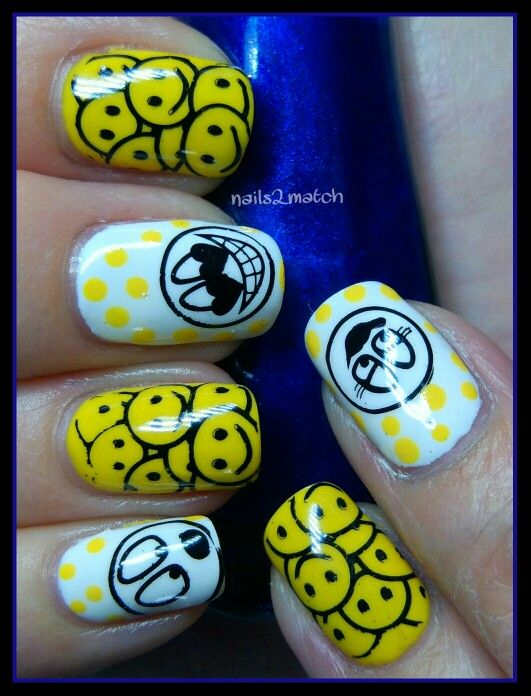 Good idea, Happy faces on ring fingers, white tips with yellow polka dots on the rest.