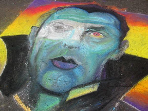 Dracula appears as scary chalk art!