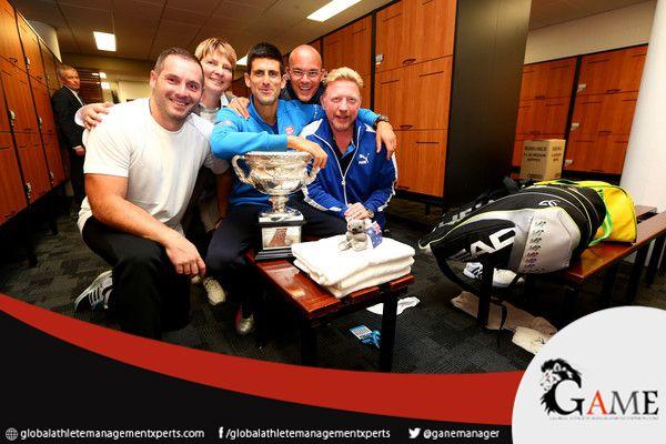 Novakdjokovic Of Serbia Coach Boris Becker Agent Edoardo Artaldi And Agent Elena Cappellaro Pose With The No Norman Brookes Boris Becker Australian Open