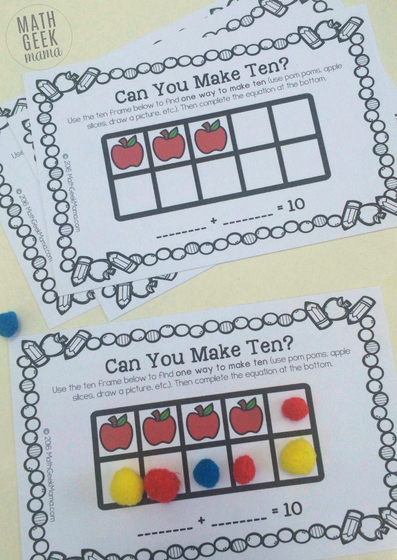 Apple Themed Ten Frame Games to Make Ten {FREE} | First Grade Math ...