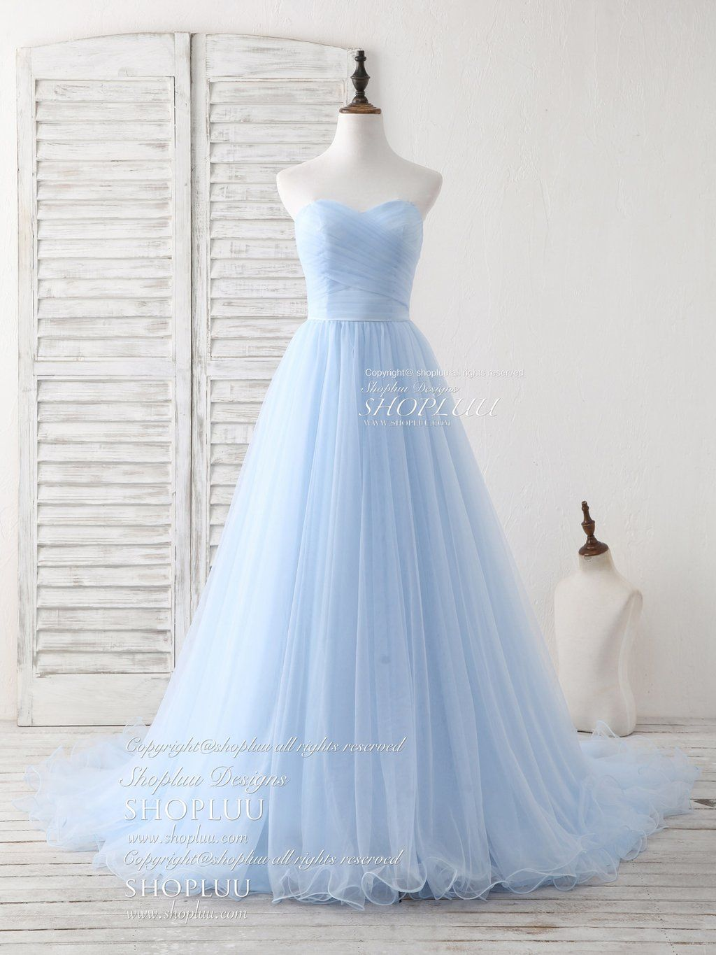Simple sweetheart blue tulle long prom dress blue evening dress 1