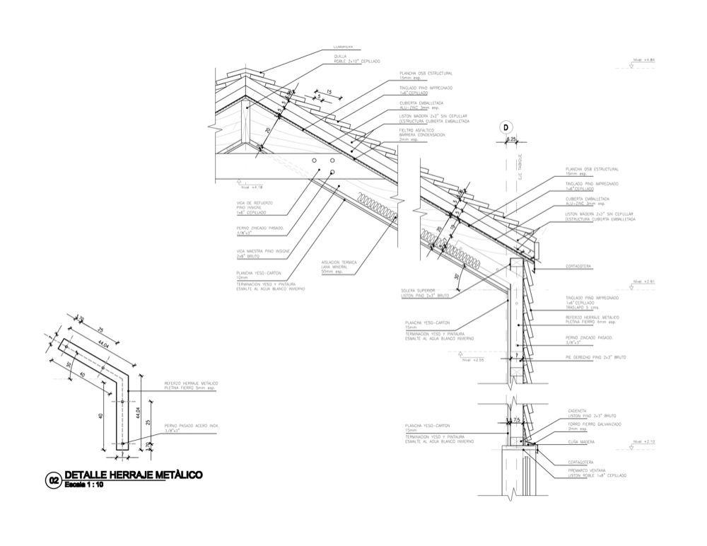 en detalle  cortes constructivos    estructuras de madera