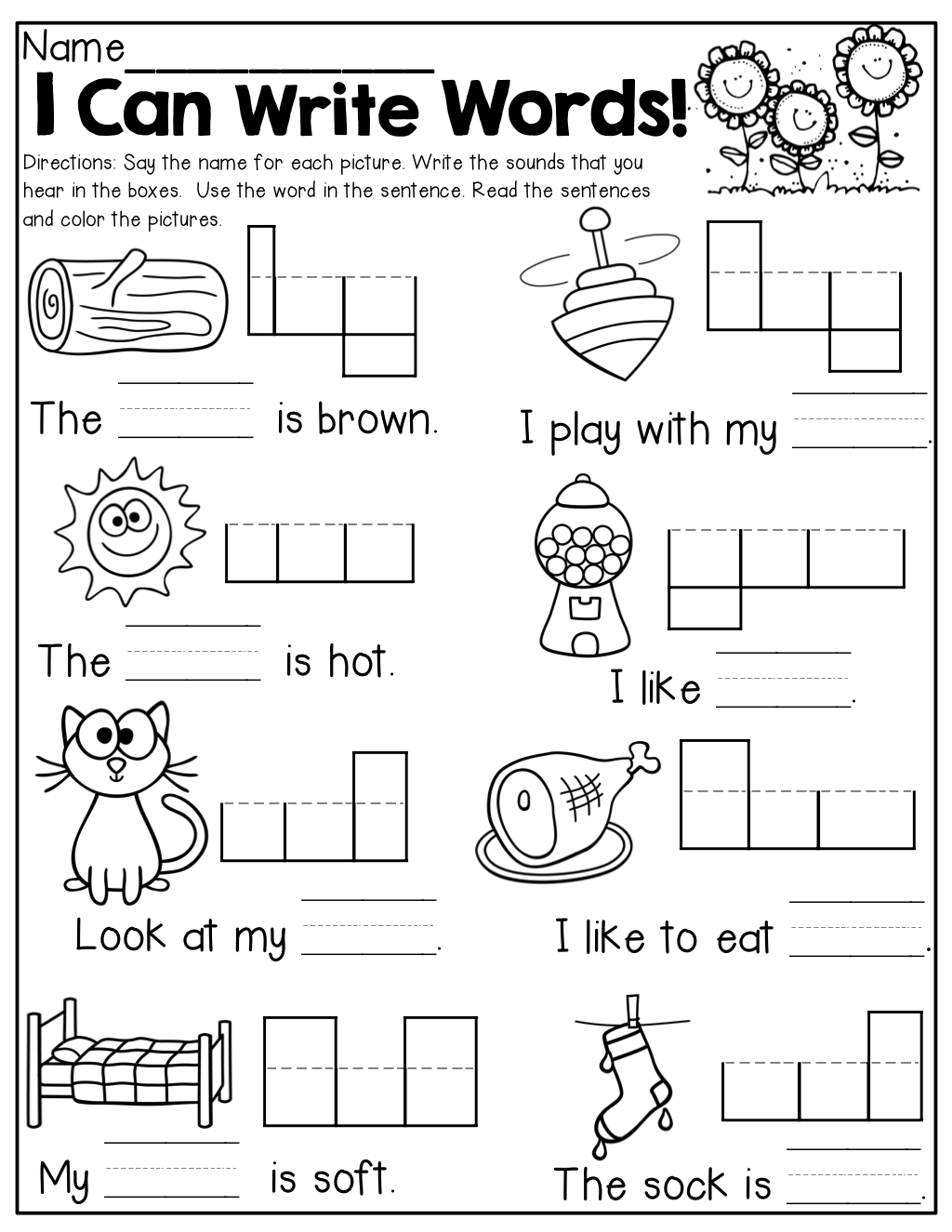 I can write words Read and write simple words with simple – Simple Sentence Worksheet