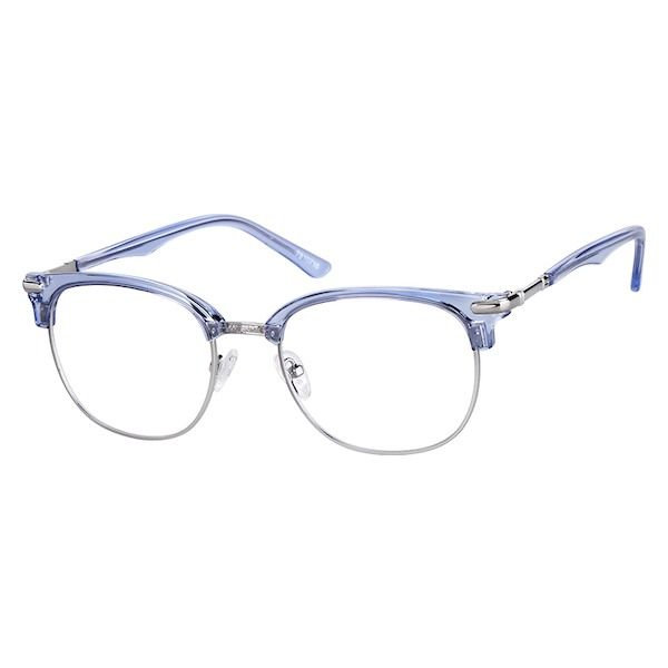 f19003dadb Zenni Browline Prescription Eyeglasses Blue Mixed Materials 7810716 ...