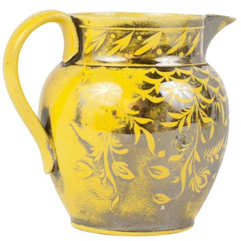 English Staffordshire Silver Canary Yellow Luster Jug