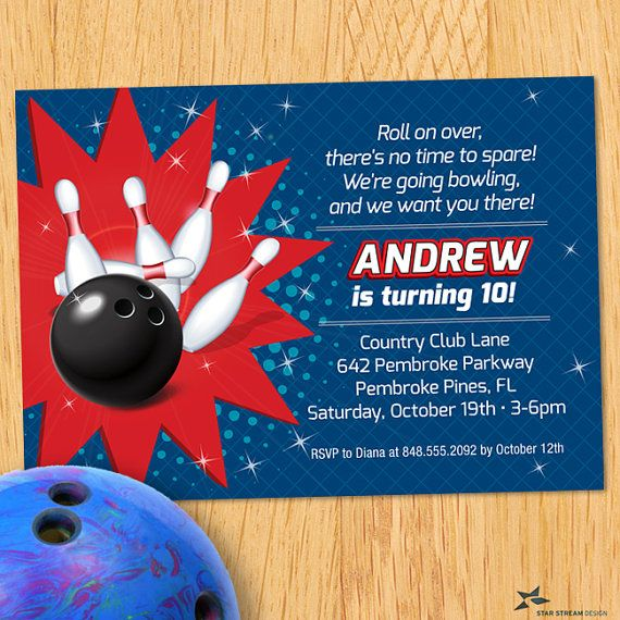 Kids red and blue bowling birthday party invitation by star stream kids red and blue bowling birthday party invitation by star stream design filmwisefo
