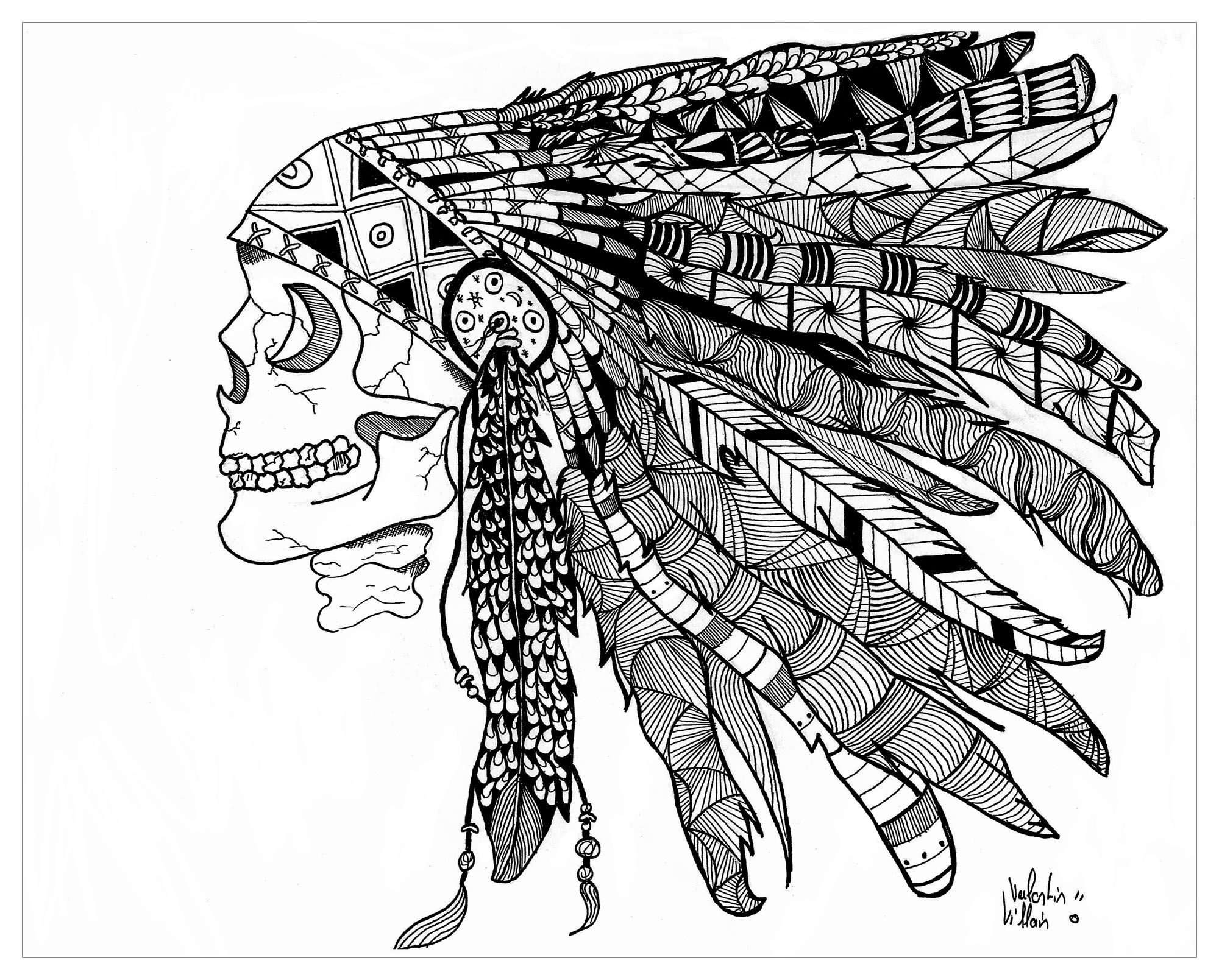 Zentangle Drawing Representing A Indian Native American Skull