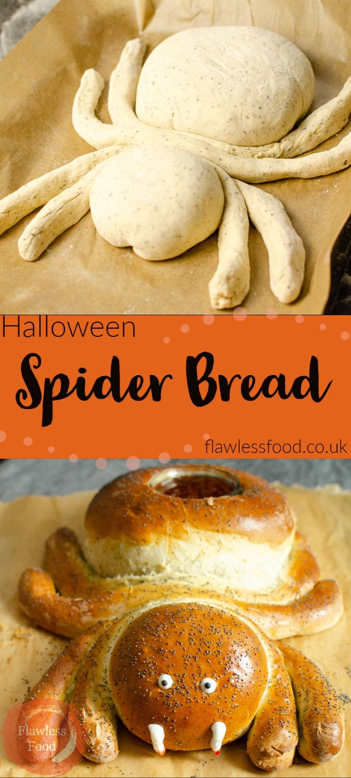 Looking for fun healthy appetizer ideas for your kids Halloween party? This cute Halloween Spider Bread makes a great savoury addition to your spooky themed table display. Easier than you think and kids and adults both enjoy tearing him up bit by bit and dipping the delicious bread into the hole in his back, filled with your chosen dip?