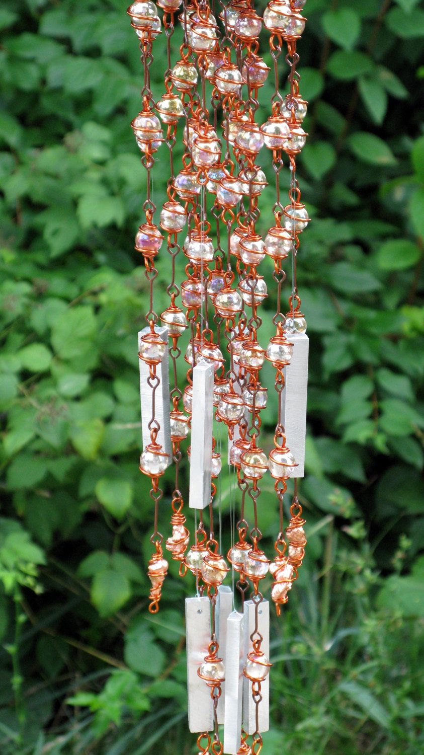 Copper Windchime / Wind Chime with Recycled Aluminum and Copper Wire ...