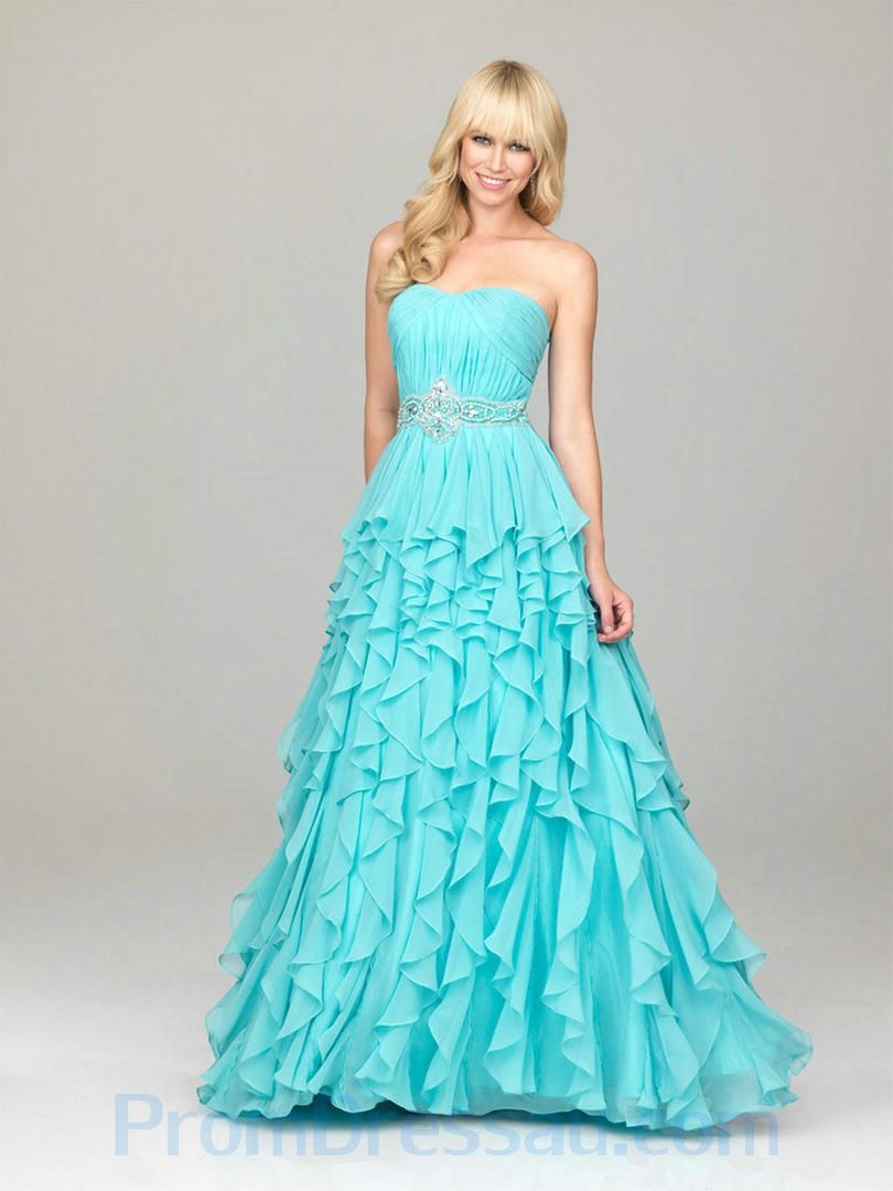 A Line Beaded Little Sweetheart Chiffon Blue Amazing Prom Dresses ...