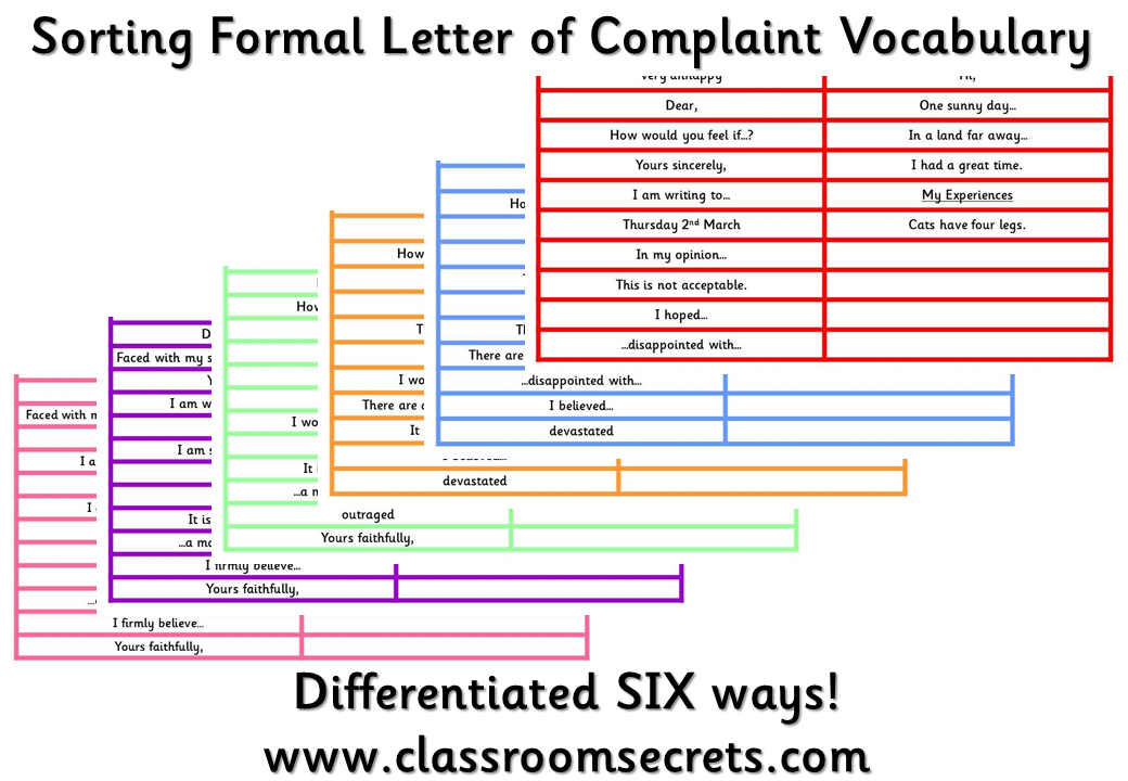 Sorting Formal Letter of Complaint Vocabulary. Special
