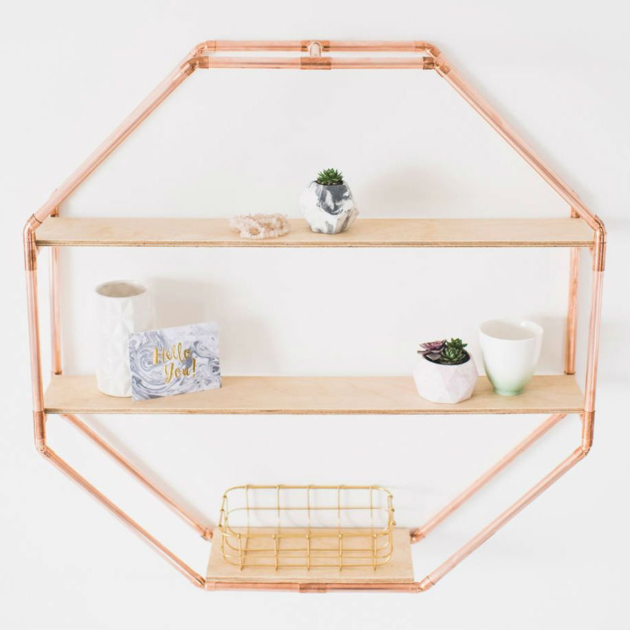 Copper Octagon Shelf Wall Hanging (76 x 76cm) | Shelf wall, Plywood ...